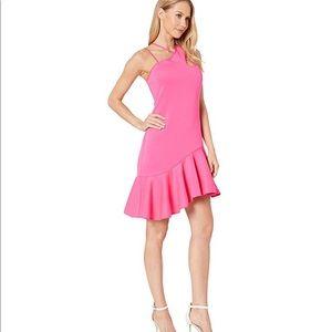 Bebe Asymmetrical Scuba Ruffle Dress